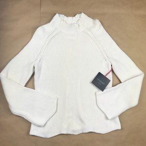 NEW Cynthia Rowley Knit Sweater White Scalloped